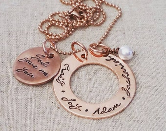 Personalized Hand Stamped Necklace-Copper God Gave Me You Mother's Necklace-Religious-Adoption-Special Needs-Mother's Love-Blessed