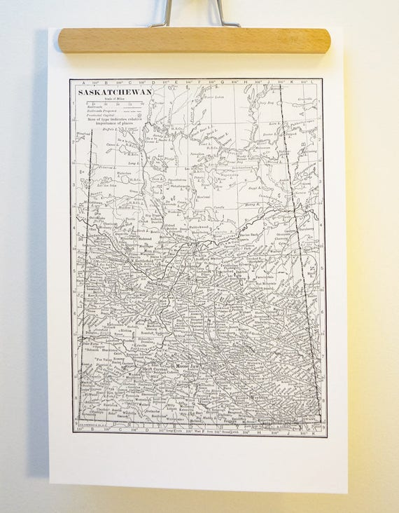 Saskatchewan Antique Map Print on Eco Bamboo paper Canadian Made in Canada Prairies Prairie Central Province Wheat Souvenir Saskatoon