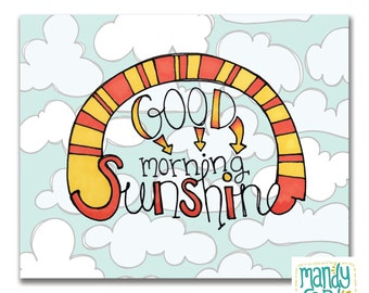 Good Morning Sunshine Nursery Art Wall Decor Handlettering Illustration Print