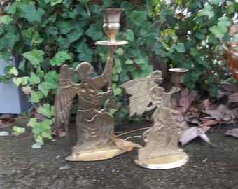 2 Angel Candle Holders Vintage Brass Candle Holders Christmas Decorations Wedding Decor French Country Prairie Farmhouse Candlesticks