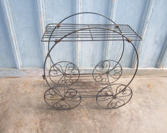 Vintage Black Metal Two Tiered Plant Stand Cart