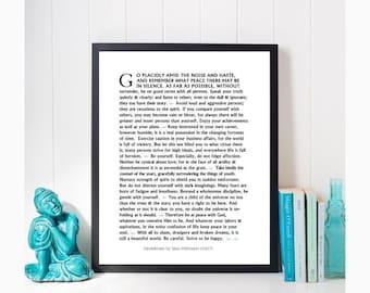 Desiderata Print, Desiderata Download, Max Ehrmann Print, Minimalist Print, Desiderata Poster, Large Wall Art Desiderata by Max Ehrmann 1927