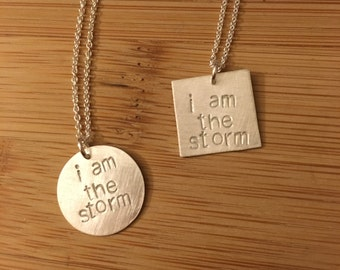 """Election 2016 """"i am the storm"""" sterling silver necklace -- stamped handmade politics election democrat feminist 2016 Clinton Obama Booker"""