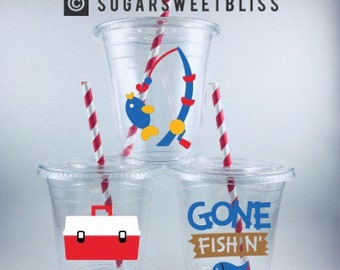 Gone Fishin' PARTY CUPS Fishing Cup Set Birthday Personalized Customized Fish Theme Lids and Straws