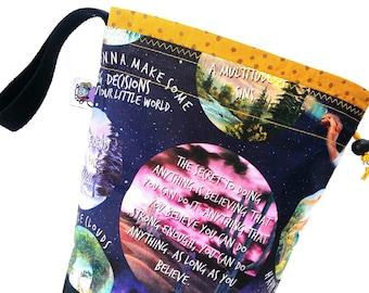 Small Knitting Project Bag Crochet Drawstring Tote WIP Bag - Bob Ross