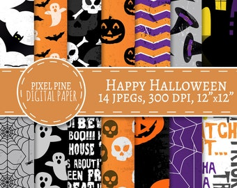 Halloween Digital Paper, digital paper halloween, 14 JPGs Personal, Commercial Use, grunge halloween paper, diy scrapbooking, ghosts, bats