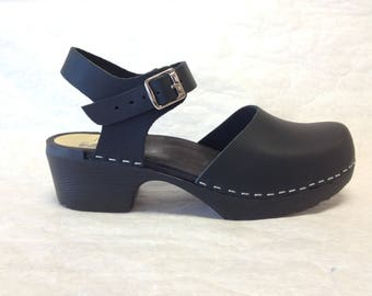 Design your Own Mary jane with buckle ankle strap on a black comfort base