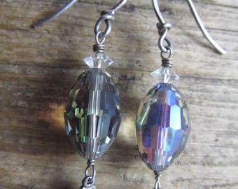 Vintage Swarovski Egg Shaped Blue with sterling shell charms earrings