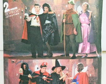 Simplicity 8010 Sewing Pattern Halloween Adult Costumes Dracula Robin Hood Witch Princess Factory Folded