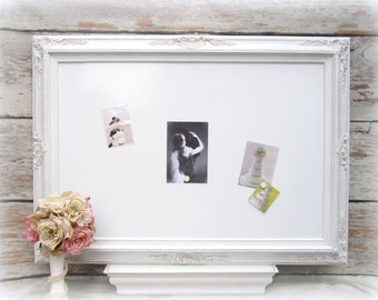 """BAROQUE FRAMED LARGE Dry Erase Board Magnetic Whiteboard Extra Large Wedding Picture Display 44""""x32"""" White Framed Dry Erase Board"""