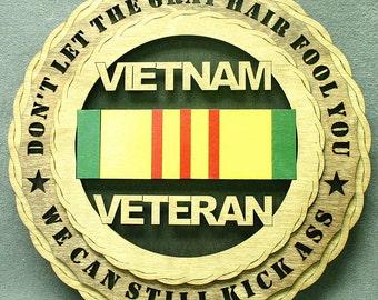 "Custom 12"" Wood - Vietnam Ribbon Veteran - Wall Tribute - FREE SHIPPING"