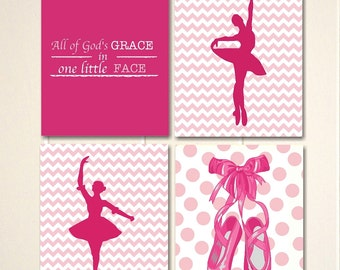 Nursery art, toddler girl room art, ballerina, ballet art, chevron, girls room art, ballet art, ballerina, nursery print, set of 4