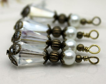 Clear Teardrop Crystal and Pearl Bead Dangle Charm Pendant Drop Set with Antique Brass, Pendant, Earring Dangles, Charm