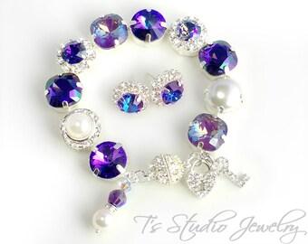 Regency Purple Plum Velvet Heliotrope Bridesmaid Wedding Bracelet - 12mm