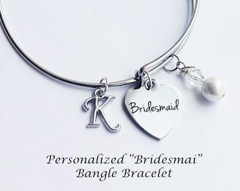 Bridesmaid bracelet. Bridesmaid Gift. Initial Bracelet. Wedding Party Gift. Bridesmaid. Bangle Bracelet