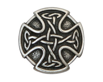 2 Celtic Cross 7/8 inch ( 23 mm ) Pewter Buttons Antique Silver Color