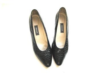 BALLYS Black Patent Leather Pumps, Embossed Heels, 8.5