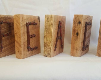 Wood and twig block letters - PEACE