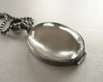 sterling silver oval locket, glass locket, oval locket