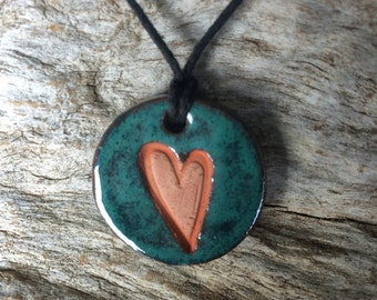 Essential Oil Diffuser Necklace | Clay Heart Terracotta Pendant | Aromatherapy Necklace |