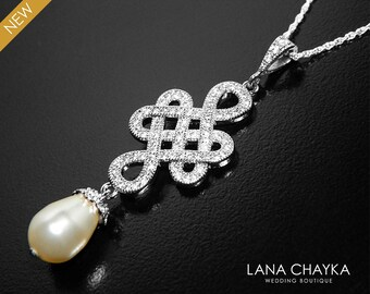 Ivory Pearl Bridal Necklace, Victorian Pearl Necklace, Swarovski Teardrop Pearl Silver CZ Necklace, Wedding Pearl Jewelry Pearl CZ Pendant