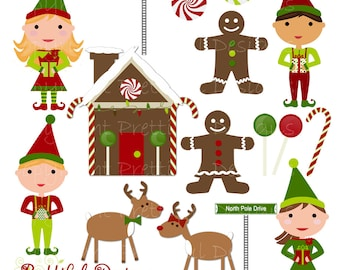 Christmas Characters Clip Art - Elf, Elves, Gingerbread, Reindeer - Personal or Commercial Use - Mistletoe