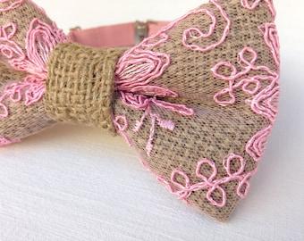 Men's burlap bow tie. Pink lace burlap bow tie. Floral grooms burlap bow tie groomsmen gift for him rustic