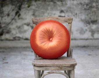 """Orange & tangerine velvet round pillow 16"""""""