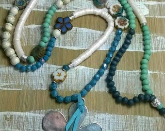 Long chain flower power flower glass beads beads Katsuki Blue Turquoise
