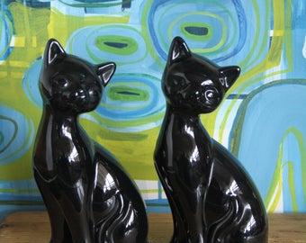 Vintage  Pair of Black Ceramic Cat Figurines