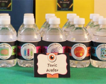 Science Water Labels Printable - Water Wraps - Super Science Collection