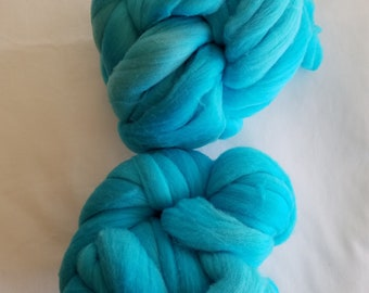 10 oz. of Wool Roving, Bright Blue, Wound in Two (2) Twisted Balls