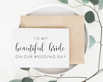 To My Beautiful Bride Card. Card For Bride. To My Bride Card. Bride Card For Wedding Day. Wedding Day Bride Card. To Bride On Wedding Day.