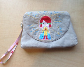 Girl Power embroidered wristlet