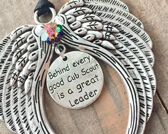 Behind every good Cub Scout is a great leader ornament.Cub scout leader appreciation,cub scouts angel,scout leader gift,Scout leader ornamen