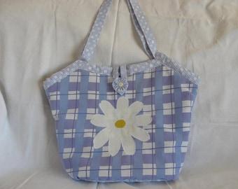 Blue reversible daisy bucket bag, tote bag