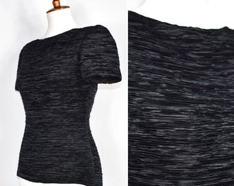 Rare Find - Vintage 80s Mary McFadden Couture Fortuny pleated short sleeve blouse