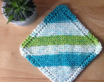 Classic old-fashioned square knitted dishcloth or washcloth in green, white, blue cotton / Handknit / Ready to ship