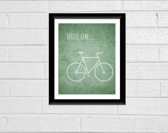 "Antique Look Bike Minimal Print Wall Decor ""Ride-On"" Bicycle Print 8 x 10 Pdf Office Decor Vintage Style  Printable More COLORS on Request"