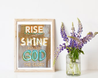 "Rise and Shine Art Print, Inspirational Print, Typographic Print Quote, Collage Art, Gold and Blue collage Print, Measures  8"" x 10""."