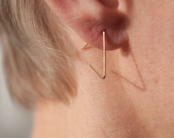 gold plated triangle wire - geometric earrings - triangle earrings - minimal jewelry - fine earrings -minimalist earrings -gift under 10