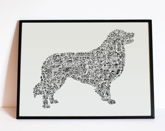 "The Australian shepperd - The story of the dog inside the silouhette - traits personnality - Hand signed - 8""x12"" or 12""x16"" - A4 - A3"