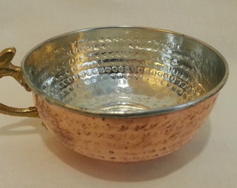 Copper Shaving Bowl / Mug / Cup with handle, for Shaving Brush and Safety Razor