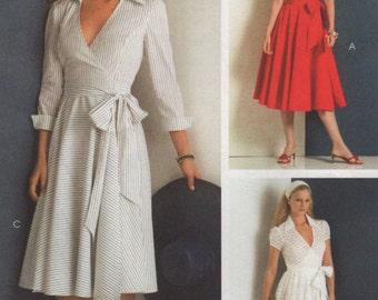 Wrap Around Dress, Full Skirt, Sleeve Options, Womens Size 6 8 10 12 Uncut Sewing Pattern