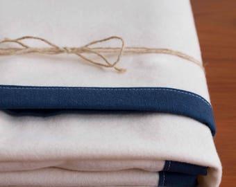 Modern Navy Blue, Ivory Flannel Baby Blanket Gift, Organic Cotton Newborn Baby Basics; Modern Baby Gear; Handmade, Minimalist Baby Bedding