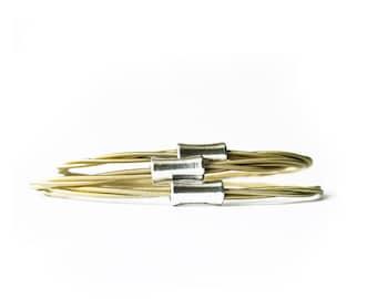 Set of 3 Bangles | Guitar String Bracelets |  Brass toned | Stacking Bangles