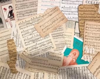 Ephemera Musical grab bag, 20+ vintage musical paper pieces, sheet music, music book covers, music scraps