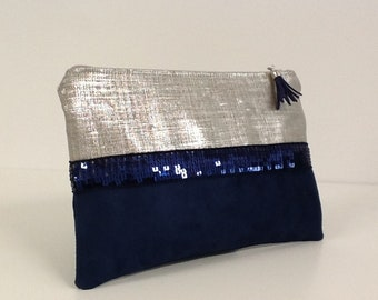 Zip purse in navy blue and iridescent linen suede, navy blue sequins / navy evening clutch and silver sequined beige