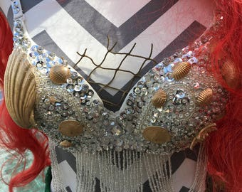 Silver Mermaid Top-Mermaid Bra-Mermaid Costume