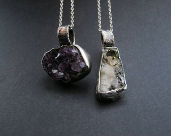 Silver and Raw Natural Amethyst Silver pendant Natural Crystal formation Crystal jewelry Rustic Pendant  Raw textured  Statement Jewelry
